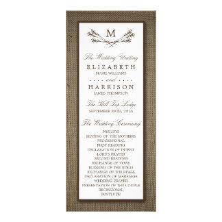 Country Rustic Monogram Branch & Burlap Wedding Rack Card