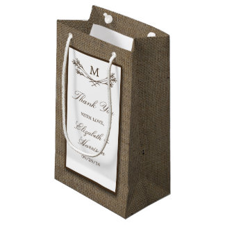 Country Rustic Monogram Branch & Burlap Wedding Small Gift Bag