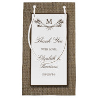 Country Rustic Monogram Branch & Burlap Wedding Gift Bag