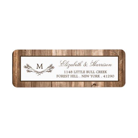 Country Rustic Monogram Branch & Wood Wedding