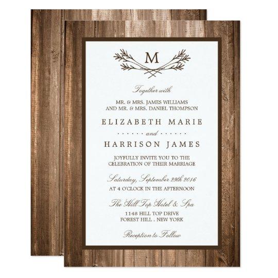 Country Rustic Monogram Branch & Wood Wedding Card
