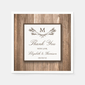 Country Rustic Monogram Branch & Wood Wedding Disposable Napkins