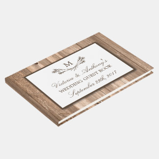 Country Rustic Monogram Branch & Wood Wedding Guest Book