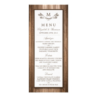Country Rustic Monogram Branch & Wood Wedding Menu Customized Rack Card