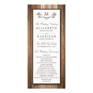 Country Rustic Monogram Branch & Wood Wedding Rack Card