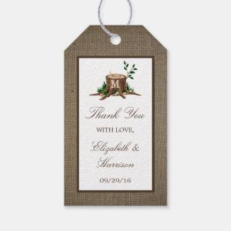 Country Rustic Monogram Tree & Burlap Wedding Gift Tags
