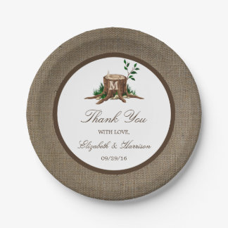 Country Rustic Monogram Tree & Burlap Wedding Paper Plate