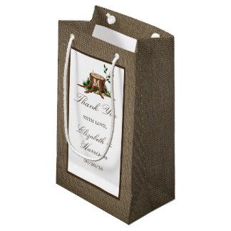 Country Rustic Monogram Tree & Burlap Wedding Small Gift Bag