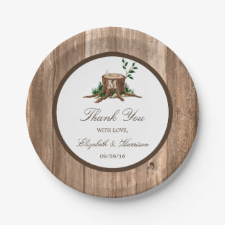 Country Rustic Monogram Tree & Wood Wedding 7 Inch Paper Plate
