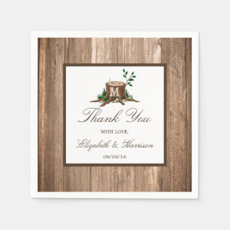 Country Rustic Monogram Tree & Wood Wedding Disposable Serviettes