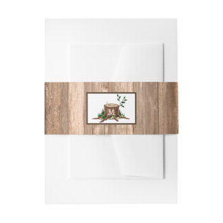 Country Rustic Monogram Tree & Wood Wedding Invitation Belly Band