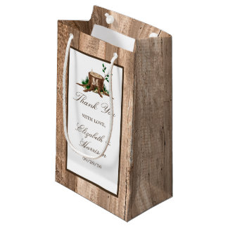 Country Rustic Monogram Tree & Wood Wedding Small Gift Bag