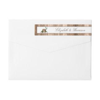 Country Rustic Monogram Tree & Wood Wedding Wrap Around Label