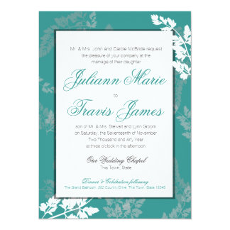Country Rustic Nature Traditional Wedding Teal Card