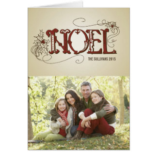 COUNTRY RUSTIC NOEL CHRISTMAS PHOTO FOLDED CARD