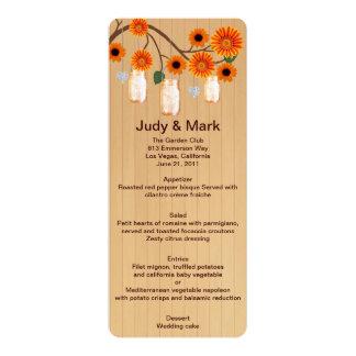 Country Rustic Orange Mason Jars Wedding Menu Card 10 Cm X 24 Cm Invitation Card