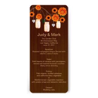 Country Rustic Orange Mason Jars Wedding Menu Card