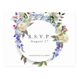 Country Rustic Peony Wedding RSVP Postcard