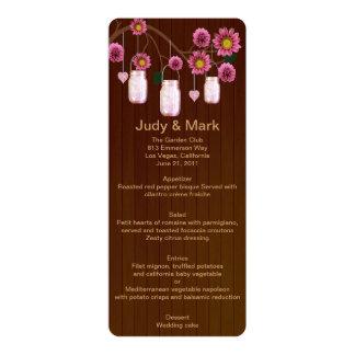 Country Rustic Pink Mason Jars Wedding Menu Card 10 Cm X 24 Cm Invitation Card