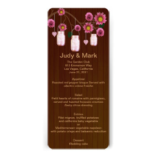 Country Rustic Pink Mason Jars Wedding Menu Card