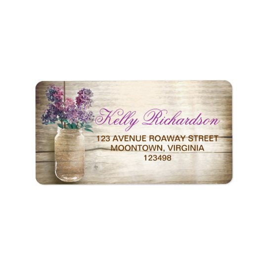 country rustic purple lilacs address labels