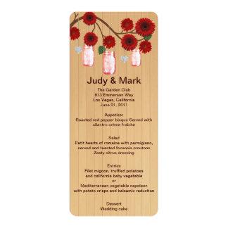 Country Rustic Red Mason Jars Wedding Menu Card 10 Cm X 24 Cm Invitation Card