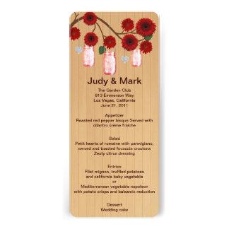 Country Rustic Red Mason Jars Wedding Menu Card