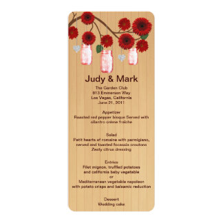 "Country Rustic Red Mason Jars Wedding Menu Card 4"" X 9.25"" Invitation Card"