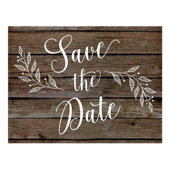 Country Rustic Save the Dates Wood Grain Post