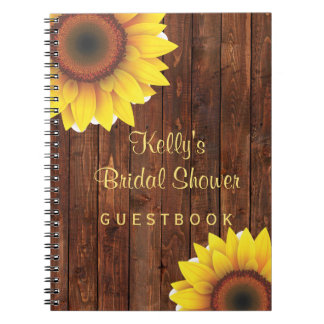 Country Rustic Sunflower Bridal Shower Guest Book
