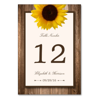 Country Rustic Sunflower & Brown Wood Wedding Card