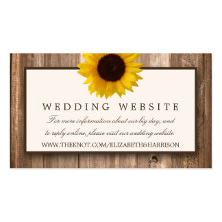 Country Rustic Sunflower & Brown Wood Wedding Pack Of Standard Business Cards