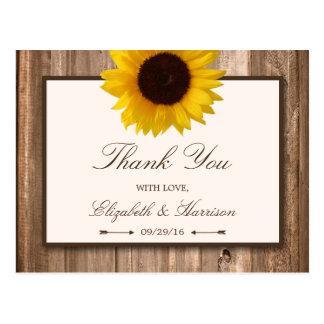 Country Rustic Sunflower & Brown Wood Wedding Postcard
