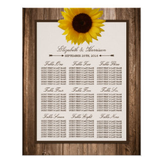 Country Rustic Sunflower & Brown Wood Wedding Poster