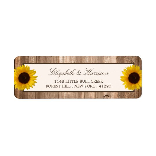 Country Rustic Sunflower & Brown Wood Wedding Return
