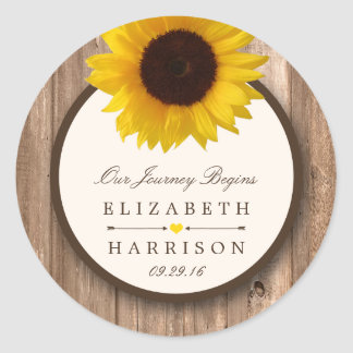 Country Rustic Sunflower & Brown Wood Wedding Round Sticker
