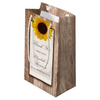 Country Rustic Sunflower & Brown Wood Wedding Small Gift Bag