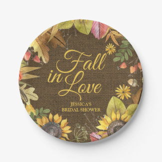 Country Rustic Sunflower Burlap Fall Bridal Shower Paper Plate