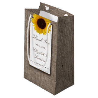 Country Rustic Sunflower & Burlap Wedding Small Gift Bag