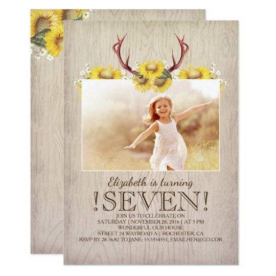 Country Rustic Sunflowers Birthday Photo Card