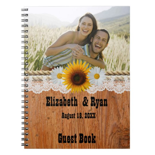 Country Rustic Wedding, Sign in Book, Sunflower Notebook