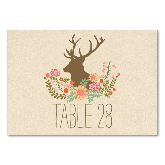 Country rustic wedding table number card with deer