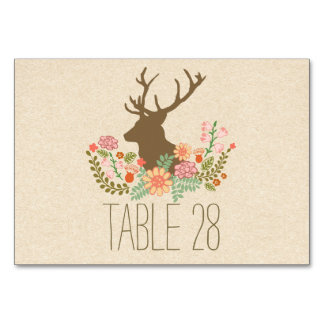Country rustic wedding table number card with deer table card