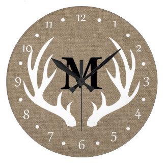 Country Rustic White Deer Antlers Large Clock