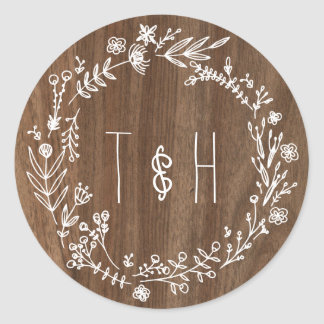 Country Rustic Wood Monogram Wedding Sticker