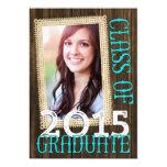 Country Rustic Wood Teal Photo 2015 Graduation 13 Cm X 18 Cm Invitation Card