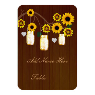 """Country Rustic Yellow Mason Jars Table Place Card 3.5"""" X 5"""" Invitation Card"""