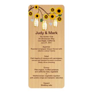 Country Rustic Yellow Mason Jars Wedding Menu Card 10 Cm X 24 Cm Invitation Card