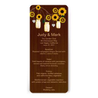 Country Rustic Yellow Mason Jars Wedding Menu Card