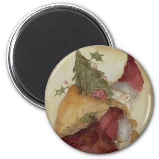 COUNTRY SANTA 6 CM ROUND MAGNET